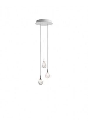 Bomma Soap Mini chandelier with 3 lamps multicolour version 1, 2 x clear, 1 x frosted