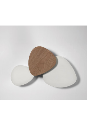 Bover Tria Set 3 outer elements white, middle element natural oak