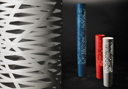 Foscarini Tress Terra grande white and blue, media red and greige