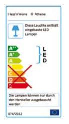 Less'n'more Athene Wall / Ceiling Light A-BDL1 EU Energy Label