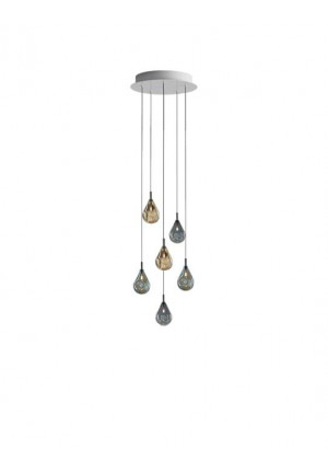 Bomma Soap Mini chandelier with 6 lamps multicolour version 1, 3 x clear, 3 x frosted
