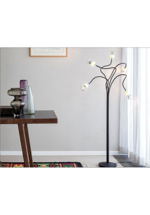 Serien Lighting Poppy Floor 5 arms black,shades ruby,base black