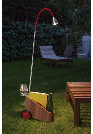 Less'n'more Bookowski Battery Light BO-A aluminum, flex arm textile red (Wheels black-red on request)