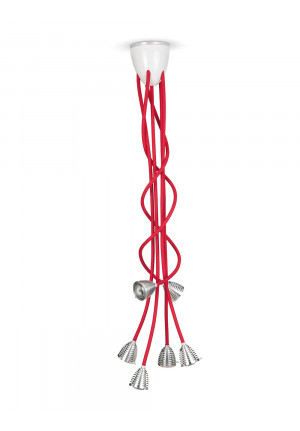 Less'n'more Athene Porcelain Chandelier flexible arms red