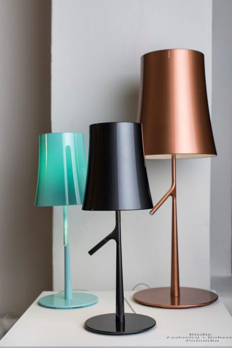 Foscarini Birdie Piccola Tavolo aquamarine and graphite, Grande copper
