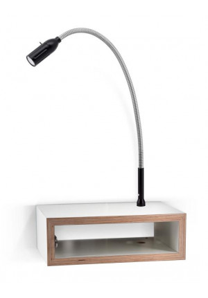 Less'n'more Eichendorff Zeus Bedside Table EI-Z aluminum, flex arm textile black