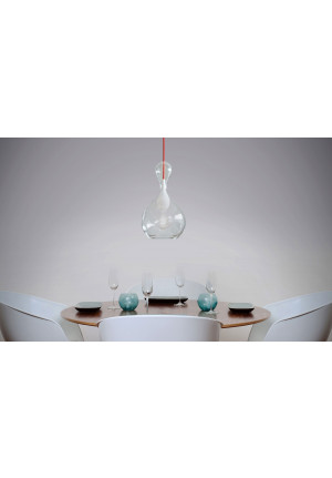 Next Blubb Pendant clear opal with red cable