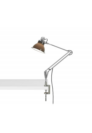 Anglepoise Type 1228 Lamp with Desk Clamp grey switched on