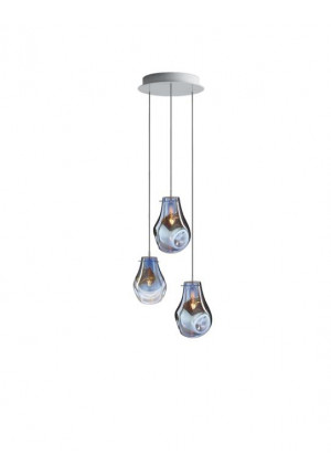 Bomma Soap chandelier with 3 lamps blue