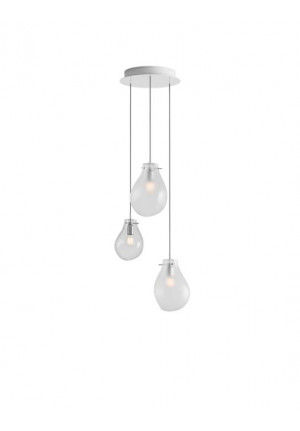 Bomma Soap chandelier with 3 lamps multicolour version 1, 2 x Large frosted, 1 x Small clear