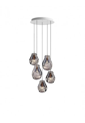 Bomma Soap chandelier with 5 lamps silver
