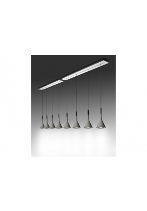 Foscarini Aplomb Sospensione elongated multiple canopy 90 cm and 135 cm 4 lights grey