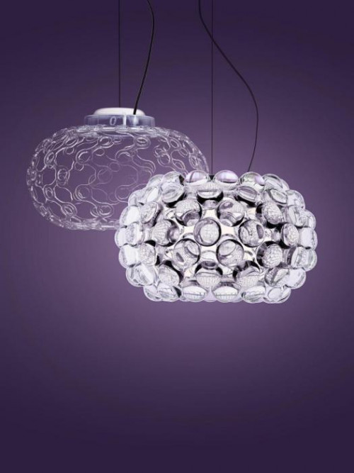 Foscarini Caboche Plus Sospensione Piccola transparent without and with spheres