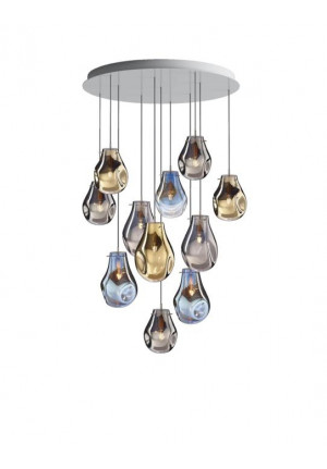 Bomma Soap chandelier with 11 lamps multicolour version 1, 3 x Large clear, 2 x Large frosted, 2 x Small clear, 4 x Small frosted
