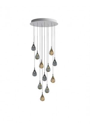 Bomma Soap Mini chandelier with 12 lamps multicolour version 1, 6 x clear, 6 x frosted